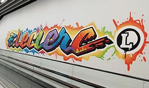 Graffiti E.Leclerc par Kevin Le Gall
